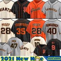 28 Buster Posey San Francisco Jerseys Brandon Crawford Cinto Evan Longoria Baseball Alex Dickerson Mike Yastrzemski Mauricio Dubon Homens Personalizados
