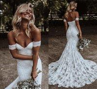Boho Mermaid Wedding Dresses for Women 2021 Detachable Sleeve Lace Bohemian Bride Dress Beach Bridal Gowns Vestido De Noiva