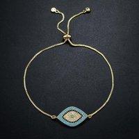 Charm Bracelets Silver Color For Women Micro-inlaid Zircon Turkish Design Evil Eye Friendship Luck Blue Black Crystal Jewelry