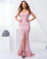 Prom Party Dress for Women, All Over Sequin Fit and Flare Sweetheart Sleeveless Long Fitted Formal Gowns with Front Split Skirt