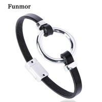 Funmor Classic Leather Bracelet Round Alloy Shape Hand Jewelry Women Men Daily T-Shirt Coat Decoration Accessories Gifts Bangle
