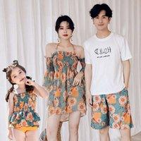 Ms Swimsuit pai filho pai mãe filha pai filho de quatro crianças bikini split terno de família três peças
