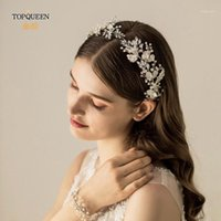 HP272 Sliver Leaf Bridal Tiara Wedding Headband Pearl Hair Jewelry Clear Crstal Accessories1