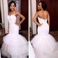 2022 Mermaid Wedding Dresses Bridal Gown Strapless Lace Applique Sweep Train Country Tiered Tulle Skirt Vestidos de novia Custom Made Plus Size
