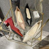Tek Sandalet Katman Ayakkabı Günlük Basit Sivri Burun Düşük Üst Yay Tıknaz Topuk Kadın Moda Fabrika Nokta