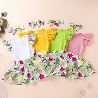 Kids Clothing Sets Newborn Girls Outfits Baby Clothes Infant Wear Summer Cotton Fruit Short Sleeve Rompers Skirts Headbands 3Pcs B6727