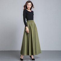 Skirts 2021 Women Autumn Winter Casual Cotton And Linen Lady Solid High Waist A-line Faldas Female Loose Dance Pleated Skirt F79