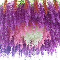 12pcs Wisteria Flowers String Vine With Green For Home Wedding Garden Decoration Hanging Garland Wall Artificial Silk Flower 210911