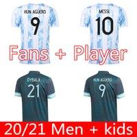 Oyuncu Hayranları Sürüm Arjantin Futbol Forması 20 21 Copa Amerika Eve Uzaktan Futbol Gömlek 2021 Messi DyBala Lo Celso Ulusal Takım Maradona Erkekler + Çocuk Kiti Üniformaları