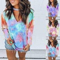 여성 T 셔츠 패션 디자이너 가을 인쇄 넥타이 염료 V-Neck 긴 소매 큰 상단 티셔츠 폴로 딩 레깅스와 드레스