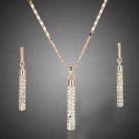 2021 Crystal clear 18K Real Gold Plated Austria ELEMENTS Drop Earrings and Pendant Necklace Sets Hot sell