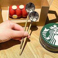 Starbucks ouro prata colheres de prata de aço café colher pequena sobremesa redonda