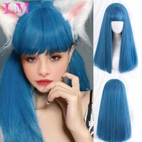 Long Ombre Colorful Synthetic Cosplay Lolita Harajuku Wig Wi...