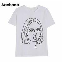 Women's T-Shirt Aachoae Women Casual White Cotton T Shirt Female Character Print Tees Tops 2021 Streetwear O Neck Short Sleeve Summer Tshirt