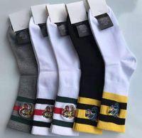 Yüksek kaliteli tasarımcı erkek pamuklu çorap kaplan kurt kafa nakış orta-yüksek tüp eğlence spor hip hop siyah beyaz çorap