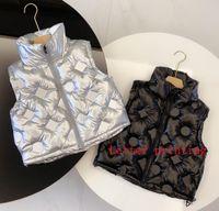 키즈 겨울 양복 조끼 아기 아기 소녀 소년 코트 Gilet 소년 조끼 편지 인쇄 재킷 인쇄 옷 패션 방수 크기 100-140 레저 온기 클래식