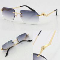 도매 무선 Unisex 패션 레오파드 시리즈 선글라스 금속 운전 안경 고품질 디자이너 UV400 3.0 두께 프레임리스 다이아몬드 컷 렌즈 안경