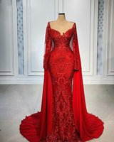Vintage Red Evening Dresses Sheer Mesh Long Sleeve cape Beaded Embroidery Vintage Lace Mermaid African Women Prom Formal Gowns