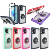 TPU Acrylic Armor Clear Phone Case For Iphone 12 SE 2020 Samsung Note 20 A51 5G MOTO E7 Car Magnetic Ring Stand