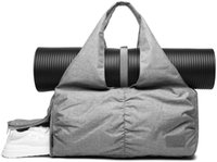 Travel Yoga Gym Bag for Women, Carrying Workout Gear, Makeup, Accessories, Shoe Compartment and Wet Dry Storage Pockets, Fun Medium Grey