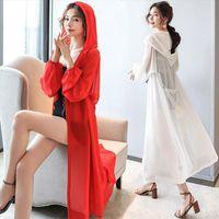 Summer Puff Sleeve Simple Women Blouses Loose Chiffon White Kimono Cardigan Hooded Long Ladies Tops Sun Protective