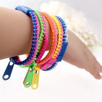 Nova pulseira de pulseira pulseira dual zipper pulseira fluorescente pulseira criativa de néon para mulheres