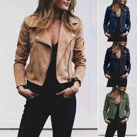 Women's Leather & Faux Outwear Women Ladies Classic Jacket Coats Long Sleeve Zip Up Windbreaker Biker Flight Casual Top Coat 2D9B