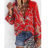 Cyingd с длинными рукавами повседневные женские блузки V шеи кнопка кардиган свободные печатные топы офисные дамы 2020 тонкие весенние летние блузки