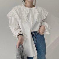 Camicetta in stile Giappone Primavera Autunno La moda coreana Allentato Simple Thin Sask Ruffle GRANDE GRANDE GRANDE MANICO A MANICHE A LUNGA Camicie da donna Camicie