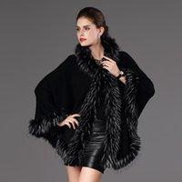 Sciarpe Black Women Poncho Scialle caldo Cappotto con cappuccio Cappotto Faux Fur Cardigan Fhiera del mantello Capo Femmina Femmina Cashmere Artificiale Silenziatore