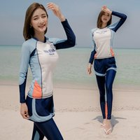 One-Piece Suits Women Long Sleeve Rash Guard Two Piece Swimwear Panties Surfing Suit High Neck Swimsuits Diving Skirt Push Up Bathing