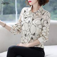Ropa otoño manga larga impresa blusa mujer gasa tops ol vintage cárdigan camiseta chemisier femme 7490 50 blusas de mujer camisas