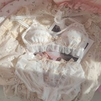 Honviey Fairy Lace Glittering Lengerie Gold Ribbon Bow Girls Cute Sexy Underwear Set Embroidery Triangle Cup Bra Sets
