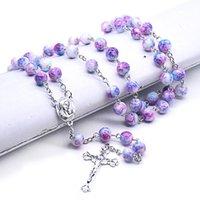 Hecho a mano Católico Católico Rosario Rosario Collar Cross Colgante Cadenas de vidrio Beads Joyería para Mujeres Chicas