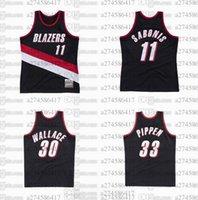 CUSTOM S-6XL HOMBRES Jersey de baloncesto juvenil 30 Rasheed Wallace 11 Sabonis 33 Pippen MN 1999-00 Hardwoods Classics Retro Jerseys