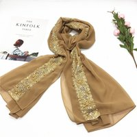 Señoras chal perla lentejuelas oro rosa bufanda de gasa