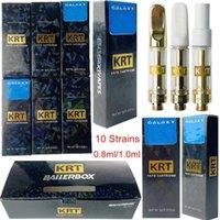 10 균주 KRT Atomizers 빈 vape 펜 카트리지 포장 카트 1ml 0.8ml 세라믹 510 나사 갤럭시 두꺼운 오일 기화기 전자 담배