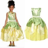 Yofeel الأميرة تياننا زي لفتاة تنكرية فساتين تأثيري الأميرة والضفدع اللباس الاطفال حزب هالوين عيد ميلاد ثوب 210331