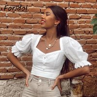FORIDOL Pearl Button Puff Sleeve Frauen Crop Top und Bluse 2021 Vintage Aushöhlen Baumwolle Weißes Hemd Chic Ruffle Tops Frauen Blusen Shi