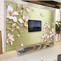 Shuhiko Custom Large Fresco Relief Drawing Blue Magnolia Flower TV Backdrop Nonwovens Environmental Wallpaper Papel De Parede Wallpapers