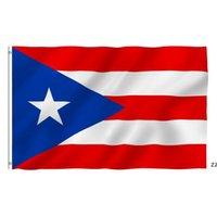 بويرتو ريكو العلم الوطني 3x5ft 150x90 سنتيمتر 100d 100٪ البوليستر راية النحاس الحلقات للديكور شنقا الإعلان بحر السفينة HWE8398