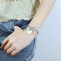Link, Chain Women Heart Pendant Stainless Steel Bracelet