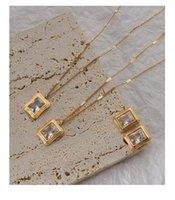 Cadenas de titanio con 18k oro cuadrado de cristal gargantilla collar de collar t show towway vestido raro ins nombre koreano boho top