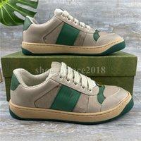 Klasik Erkekler Kadınlar Rahat Ayakkabılar Screener Serisi Dokuma Sneakers Yeşil Çizgili Desen Platformu Eğlence Ayakkabı Scarpe Trendy Tuval Deri Severler Elbise Eğitmen
