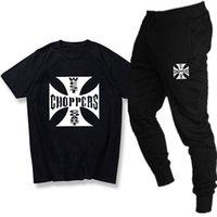 Moda Choppers West Coast T-shirt Seti erkek ve kadın Pamuk Kısa Kollu Pantolon Üst Pantolon