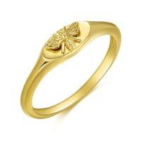 밴드 링 여성의 순수한 골드 꿀벌 반지, 클래식 금속 및 황동 보석, 우정 파티를위한 복고풍 완벽한 선물 J0706
