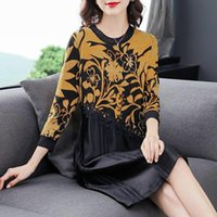 Fall Winter Woman Clothes , Womens Knitted Lace Patchwork Floral Sweater Dress 4xl Pleated Knitting Dresses For Women Casual