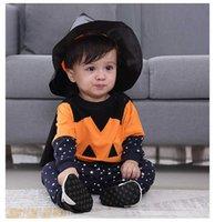 Kids 4 Piece Set Halloween Cosplay Pumpkin Bat Cape Costume Tops+ Long Pants+Cloak+Hat Toddler Newborn Baby Infant Cos Outfits H0910
