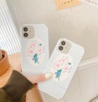 Cream blue flower pattern silk print soft phone cases for iPhone 12 11 pro promax X XS Max 7 8 Plus