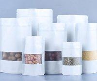 Sacos Embalagem Escola Escola Negócios Industrial100pcs / lote Matte Branco Alumínio Food Food Doypack Zip Bloqueio do pacote Bolsa de pacote com janela Reclosabl